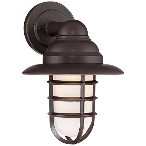 """Marlowe Bronze 13 1/4""""H Hooded Cage LED Outdoor Wall Light"""