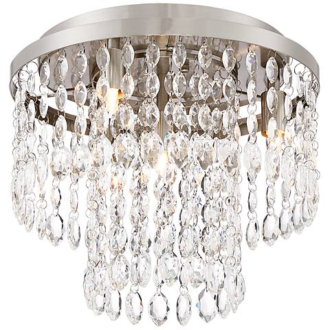 "Akiko 12"" Wide Brushed Nickel and Crystal Ceiling Light"