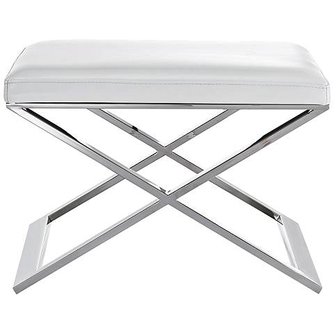 Zino White Faux Leather and Stainless Steel Ottoman