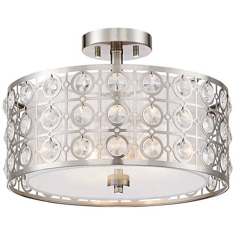 "Saira Crystal 16"" Wide Brushed Nickel Ceiling Light"