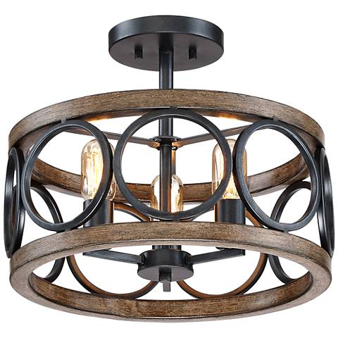 "Salima 16"" Wide 3-Light Black and Wood Grain Ceiling Light"