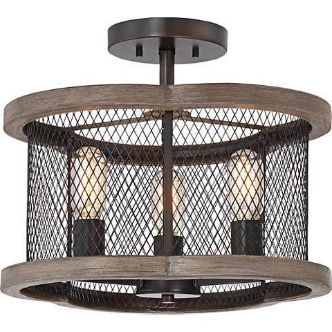 "San Mateo 15 3/4"" Wide Bronze and Wood Grain Ceiling Light"
