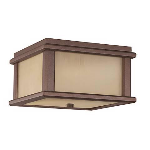 Mission Lodge Bronze Flush Outdoor Ceiling Light Fixture