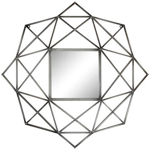 "Wilton 33"" Wide Geometric Metal Wall Mirror"