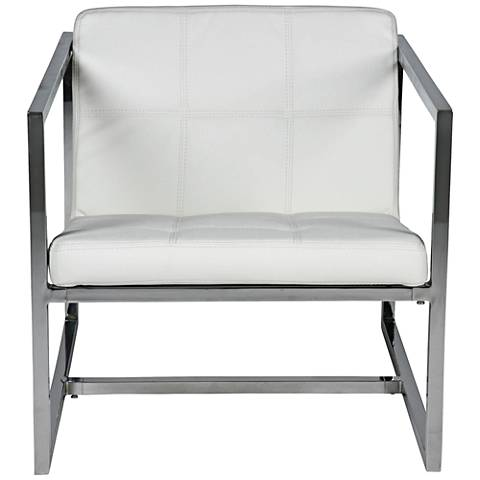 Lisa White Faux Leather and Chrome Armchair