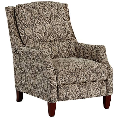Persian Green and Beige 3-Way Push Recliner Chair