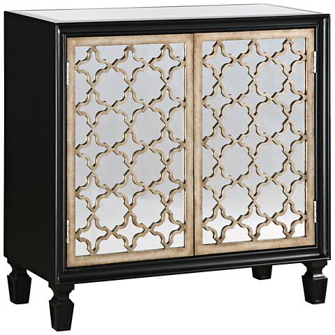 Uttermost Franzea Black and Silver 2-Door Console Cabinet
