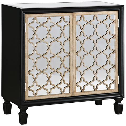 Uttermost franzea black and silver 2 door console cabinet for Black and silver cabinet