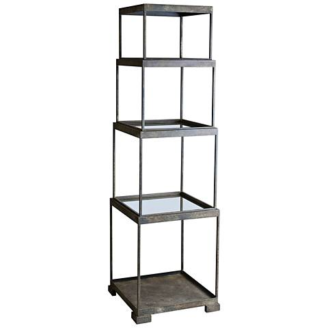 Uttermost Friedman Rustic Bronze Stacked Cubes Etagere