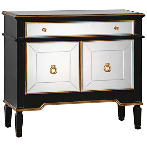 Uttermost Marciel Black and Gold 2-Door Wine Cabinet
