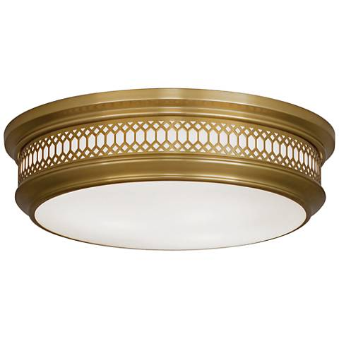 "Tucker 15 3/4"" Wide Antique Brass Ceiling Light"