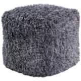 Hasley Silver Shimmer Shag Square Pouf Ottoman