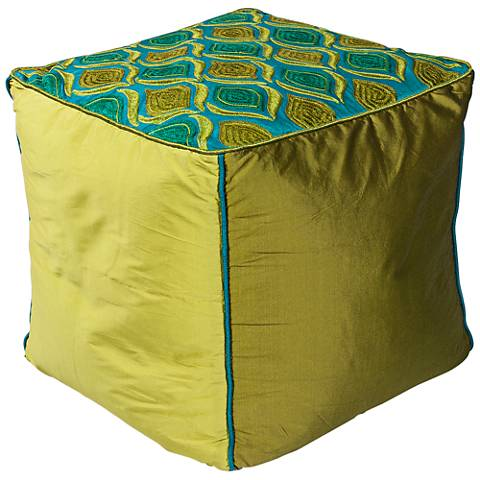 Aly Teal and Green Tribeca Square Pouf Ottoman