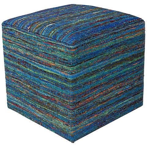Eldon Aqua Multi-Color Woven Viscose Square Pouf Ottoman