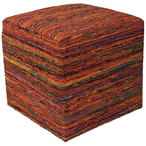 Taos Sienna Multi-Color Woven Viscose Square Pouf Ottoman