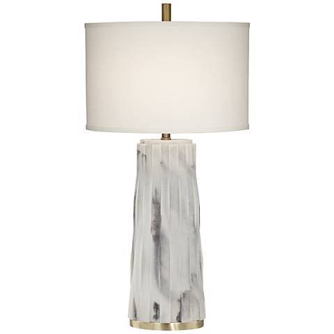 Glacier White Faux Marble Contemporary Table Lamp