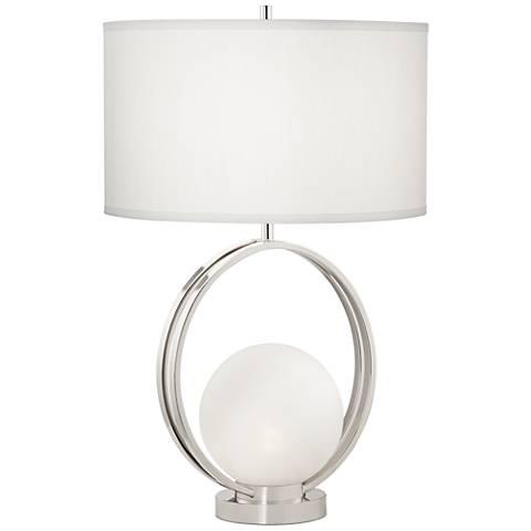 Matilda Polished Nickel Glass Ball Table Lamp