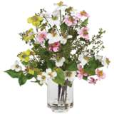 """White and Yellow Dogwood 15""""H Faux Flowers in Glass Vase"""