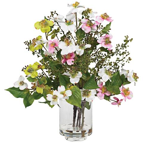 "White and Yellow Dogwood 15""H Faux Flowers in Glass Vase"