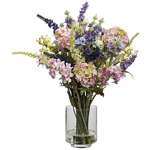 """Mixed Lavender and Hydrangea 16"""" High Faux Flowers in Vase"""