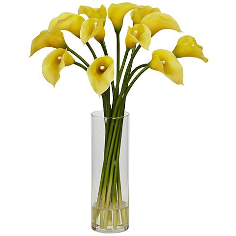 "Yellow Mini Calla Lily 20"" High Faux Flowers in Glass Vase"