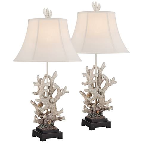 Coral Gradient Antique White Sculpted Table Lamps Set of 2