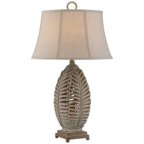 Ferns Antique Bronze-Gray Sculpted Table Lamp with Nightlight