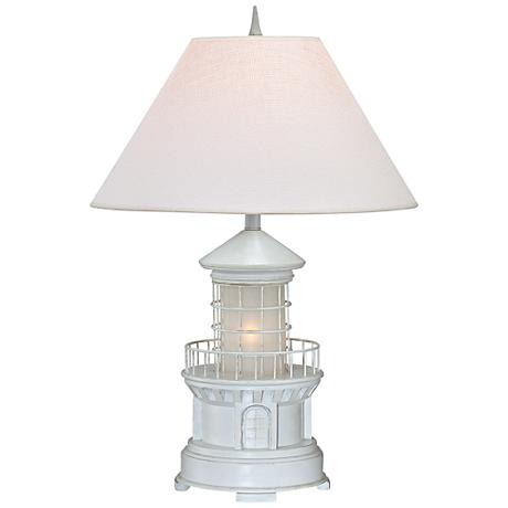 lighthouse antique white coastal table lamp with. Black Bedroom Furniture Sets. Home Design Ideas