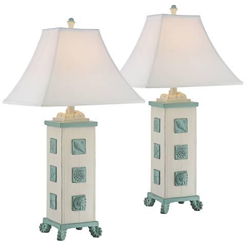Blue Seashells Antique White Square Column Table Lamp Set of 2