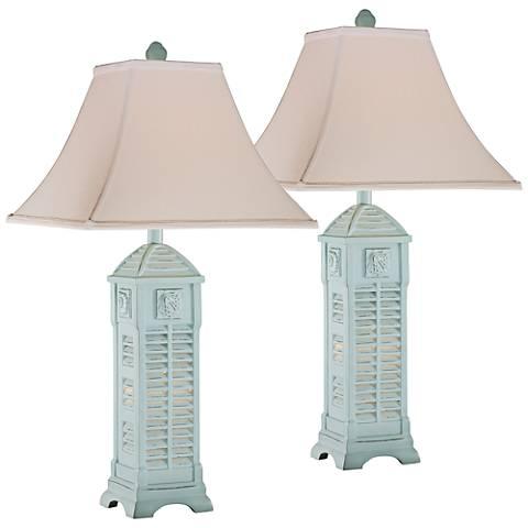 Seashell Pagoda Sky Blue Table Lamp with Nightlight Set of 2
