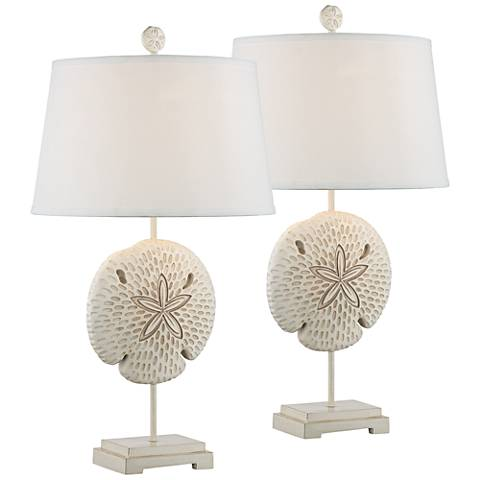 Star Coral Antique White Sculpted Coastal Table Lamps Set of 2