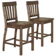 "Willoughby 19"" Weathered Barley Wood Counter Stool Set of 2"