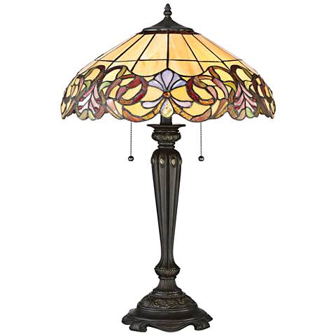 Quoizel Blossoms Imperial Bronze Tiffany Style Table Lamp