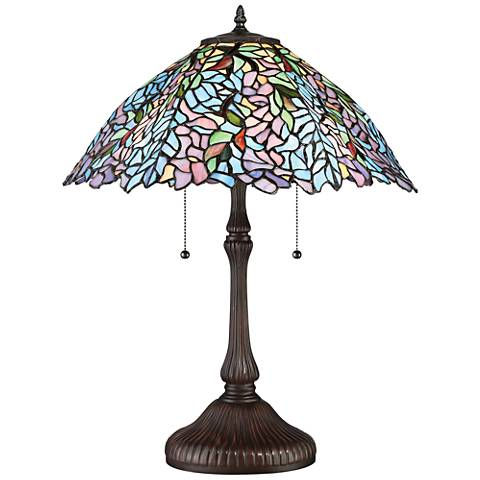 Quoizel Blue Trellis Russet Tiffany Style Art Glass Table Lamp