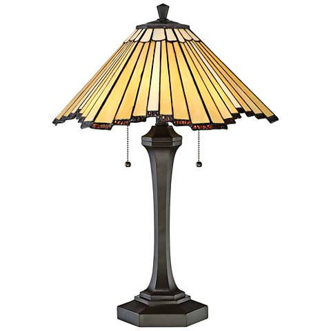Quoizel Sunrays Western Bronze Tiffany Style Art Glass Table Lamp
