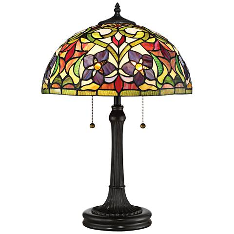 Quoizel Violets Vintage Bronze Tiffany Style Art Glass Table Lamp