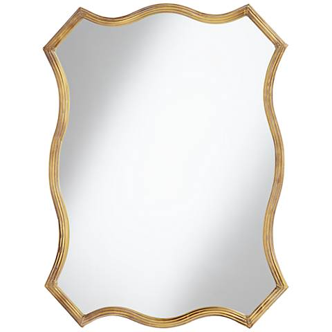 """Gold Scalloped 35 1/4"""" High Side Mirror"""