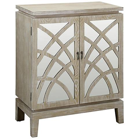 Biscayne Light Oak and Mirrored 2-Door Accent Cabinet