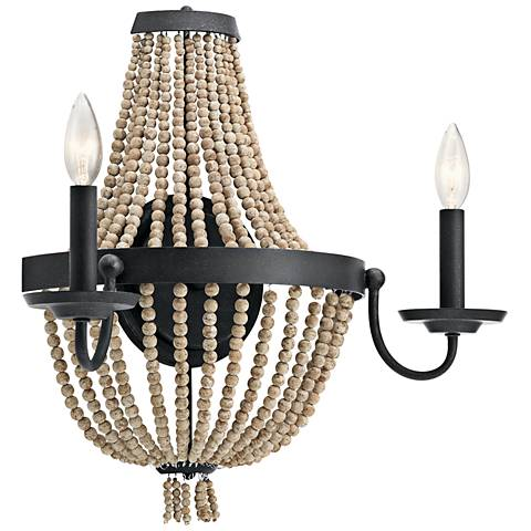 "Kichler Brisbane 18"" High Distressed Black Wall Sconce"