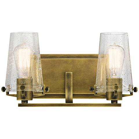 "Kichler Alton 8"" High Natural Brass 2-Light Wall Sconce"