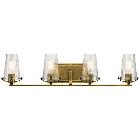 Kichler Alton 33 3 4 Wide Natural Brass 4 Light Bath Light 16v30 Lamps Plus