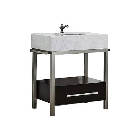 """Denali 30"""" White Carrera and Espresso Single Sink Vanity"""