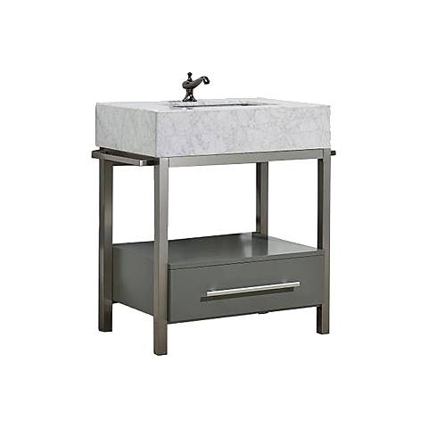 "Denali 30"" White Carrera and Gray Single Sink Vanity"