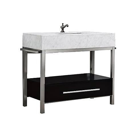 """Denali 40"""" White Carrera and Espresso Single Sink Vanity"""