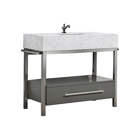 "Denali 40"" White Carrera and Gray Single Sink Vanity"