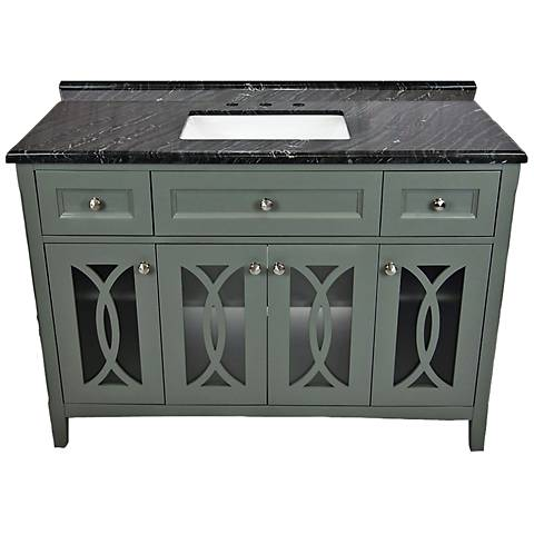 "Grazia 48"" Blackwood Marble and Gray Single Sink Vanity"
