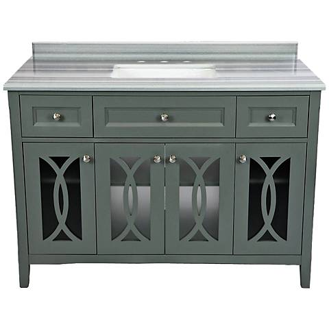 "Grazia 48"" White Stripes and Gray Single Sink Vanity"