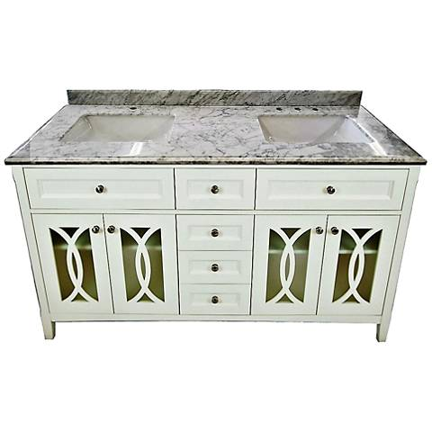 "Grazia 60"" White Carrera and Soft White Double Sink Vanity"