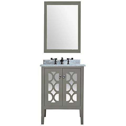 "Mediterraneo 24"" White Carrera and Gray Single Sink Vanity"