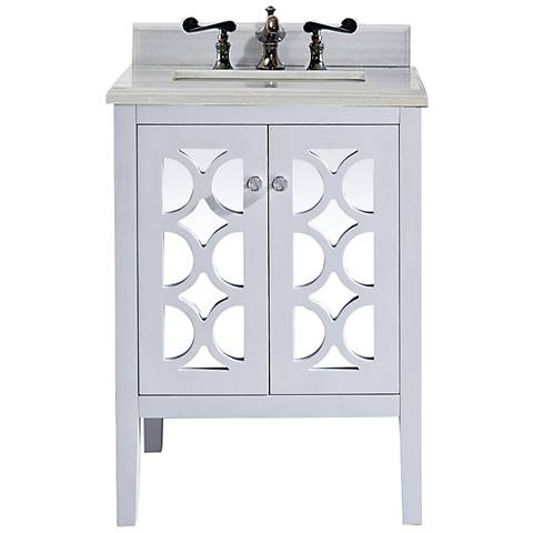 "Mediterraneo 24"" White Stripes and White Single Sink Vanity"